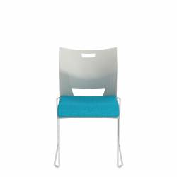 Armless Chair, Upholstered Seat & Polypropylene Back
