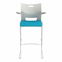 Bar Stool with Arms, Upholstered Seat & Polypropylene Back Model Thumbnail