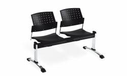 Two Seat Beam - 2 Armless Seat Units, Upholstered Seat & Polypropylene Back Model Thumbnail