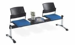 Three Seat Beam with Table Top - 2 Armless Seat Units, Upholstered Seat & Polypropylene Back Model Thumbnail